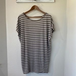 MICHAEL STARS OSFM Brown White Striped Tunic Top